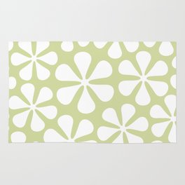 Abstract Flowers White on Lime Color Rug