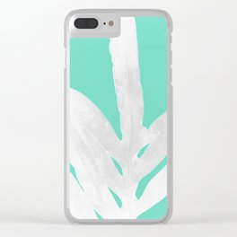 Green Fern on Ice Mint Green Inverted Silver Clear iPhone Case