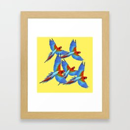 FLOCK OF BLUE MACAWS ON YELLOW Framed Art Print