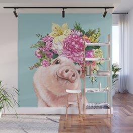 Flower Crown Baby Pig in Blue Wall Mural