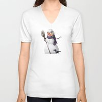 snowman V-neck T-shirts featuring Snowman by Keyspice