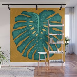 Monstera Flying to Autumn 2 Wall Mural