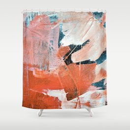 Interrupt [3]: a pretty minimal abstract acrylic piece in pink white and blue by Alyssa Hamilton Art Shower Curtain