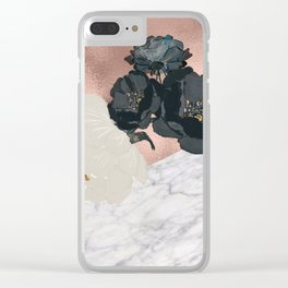 Floral marble rose gold Clear iPhone Case