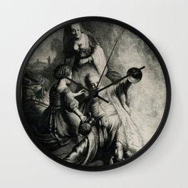 Rembrandt - Lot and his daughters Wall Clock
