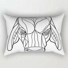 Brahma Bull Head Mosaic Black and White Rectangular Pillow