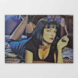 Text Portrait of Mia Wallace with Full Script of Pulp Fiction Canvas Print