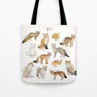 foxes Tote Bags featuring Foxes by Amy Hamilton