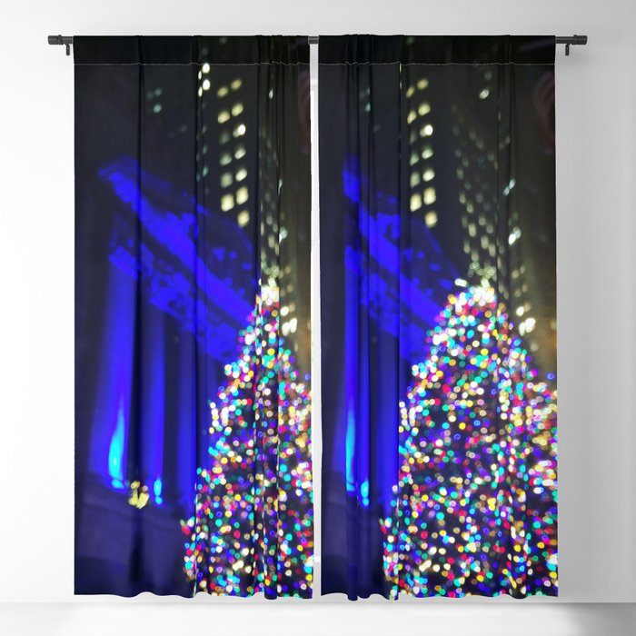 Christmas Light Curtains.Wall Street Christmas Nyc Holiday Tree Lights Blackout Curtain By Anoellejay