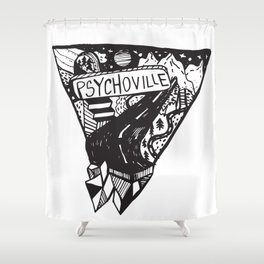 Psychoville black ink drawing Shower Curtain