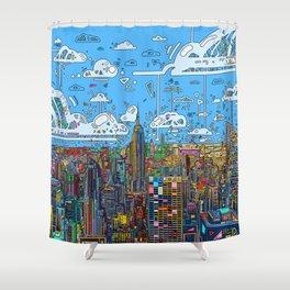 new york city skyline colorful Shower Curtain
