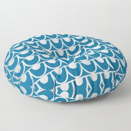 Mid Century Modern Abstract Fish Scale Pattern in Ocean Blue and Silver Floor Pillow