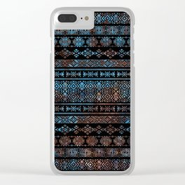 Bronze and Rust Vintage  Aztec Peruvian Tribal Pattern Clear iPhone Case