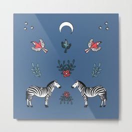 Zebra and parrots under the moon Metal Print