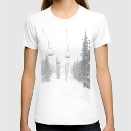 Empty Chairlift // Alone on the Mountain at Copper Whiteout Conditions Foggy Snowfall T-shirt