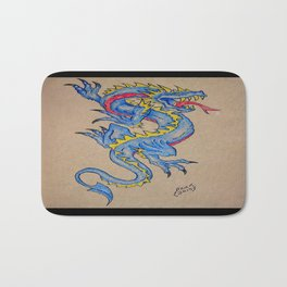 blue dragon parchment card Bath Mat