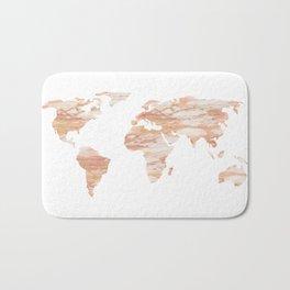 Marble Map Rose Gold Yellow Glittery World Bath Mat