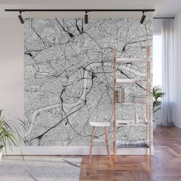 London White Map Wall Mural