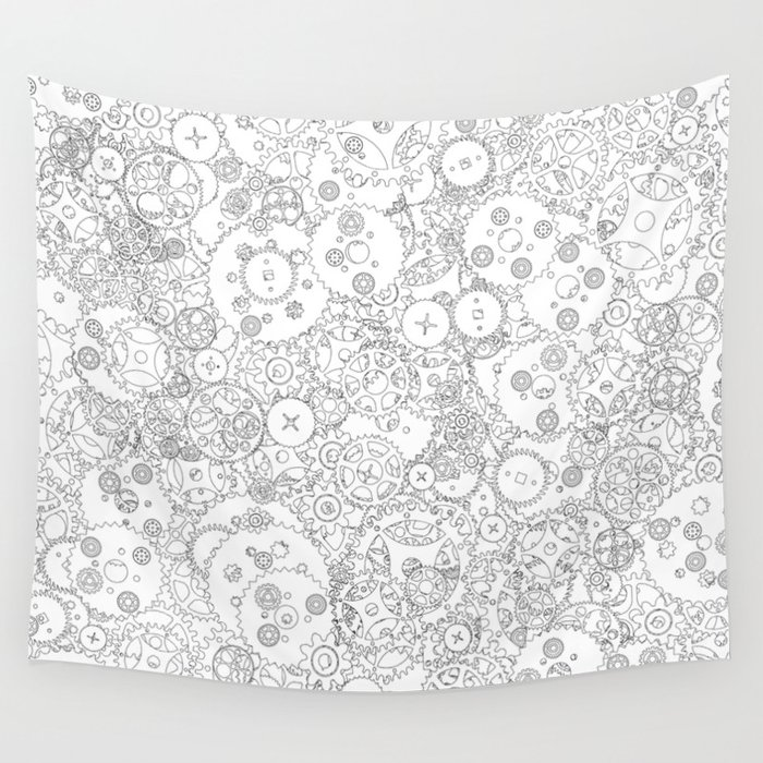 Clockwork B&W / Cogs and clockwork parts lineart pattern Wall Tapestry
