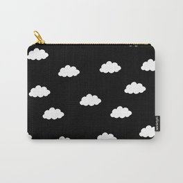 White clouds in black background Carry-All Pouch