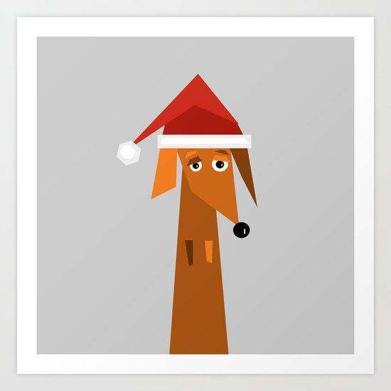 Dachshund Ready For Christmas Art Print