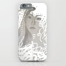grey face made of pencil and lace iPhone 6s Slim Case