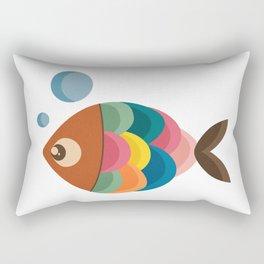 Colorful Fish Underwater Single Swimmer Rectangular Pillow