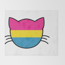 Pansexual Flag Cat Throw Blanket