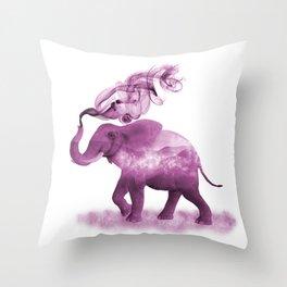 Dark Pink Smoky Clouded Elephant Throw Pillow