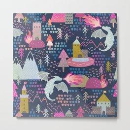 Watercolor Dragons and Castles Pattern Metal Print