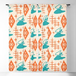 Mid Century Modern Space age Boomerang Pattern Turquoise and Orange 329 Blackout Curtain
