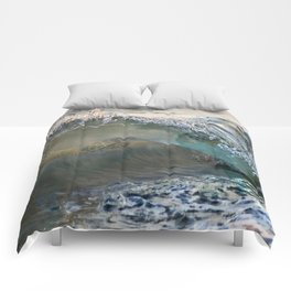 Sea Turtles In The Waves (Disappearing or Camouflage Artwork) Comforters