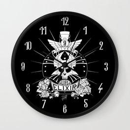 9-Lives Life Elixir (White Lineart) Wall Clock