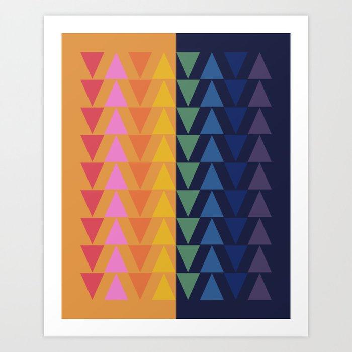 Day and Night Rainbow Triangles Art Print