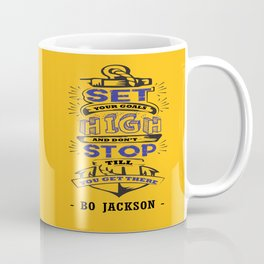 Set your goals high Bo Jackson Inspirational Sports Typographic Quote Art Coffee Mug