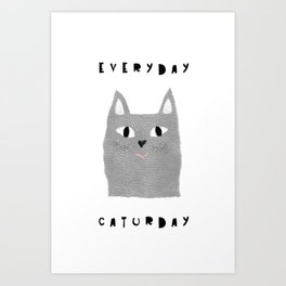 Caturday / poster, cat, art print, pictures, scandinavian, nursery, deco, family, art, animal, petti Art Print
