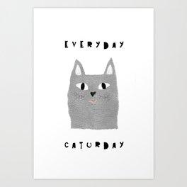 Caturday / poster, cat, art print, pictures, scandinavian, nursery, deco, family, art, animal, petti Art Print