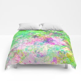 Textured Colour 1 - Study in blue, pink, green and yellow Comforters