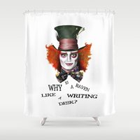 mad hatter Shower Curtains featuring The Mad Hatter by BeckiBoos