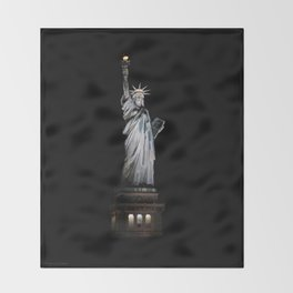 Statue of Liberty at Night Throw Blanket