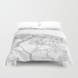 Caracas Map White Duvet Cover