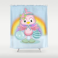 shabby chic Shower Curtains featuring Shabby Chic, Chick Christmas Holiday by Moonlake Designs
