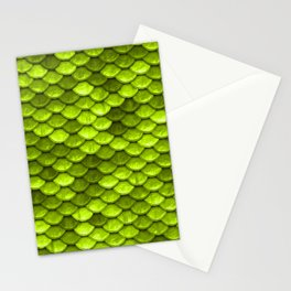 Beautiful Key Lime green mermaid fish Scales Stationery Cards