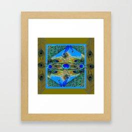 BLUE PEACOCKS KHAKI COLOR  FEATHER PATTERNS ART Framed Art Print