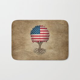 Vintage Tree of Life with Flag of The United States Bath Mat