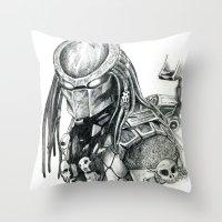 predator Throw Pillows featuring Predator. by Gary Barling