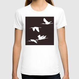 White Silhouette of Glossy Ibises In Flight T-shirt