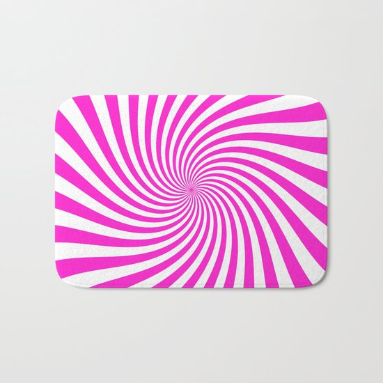 Swirl (Hot Magenta/White) Bath Mat