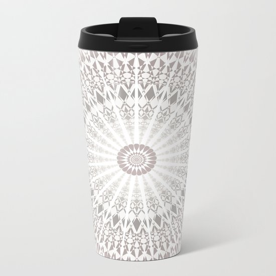 Taupe Mandala Metal Travel Mug