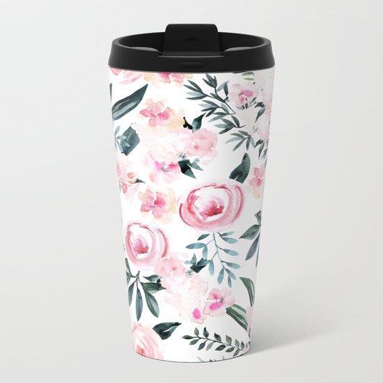 Floral Rose Watercolor Flower Pattern Metal Travel Mug